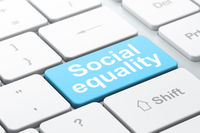 Politics concept: Social Equality on computer keyboard background
