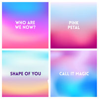 Abstract vector pink blue blurred background set. Square blurred background - sky clouds colors With love quotes.