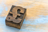 pound symbol - wood type printing block