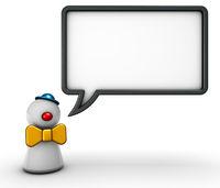 clownfigur und sprechblase auf weißem hintergrund - 3d rendering
