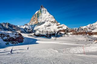Sunny Ski Slope and Matterhorn Peak in Zermatt, Switzerland