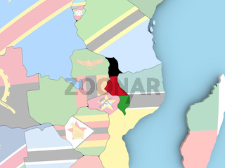 Map of Malawi with flag on globe