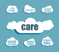 Text Care. Social concept . Design with abstract speech bubble set