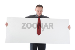 young man holding blank sheet