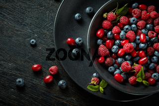 black plate with healthy berries