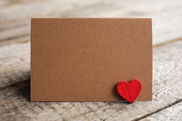 Blank greeting card and heart