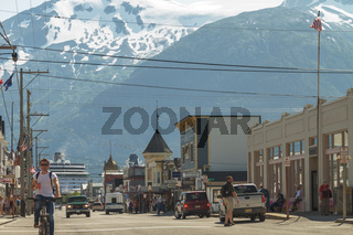 Main Shopping District in the Small Town of Skagway in Alaska