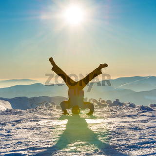 Young man having fun on the snow