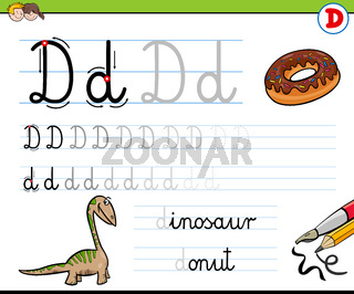 how to write letter D worksheet for kids