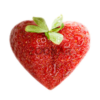 Strawberry as a Heart Love Sign Symbol