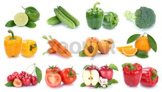 Obst und Gemüse Früchte Apfel Orange Tomaten Farben Limone frische Collage Freisteller freigestellt isoliert