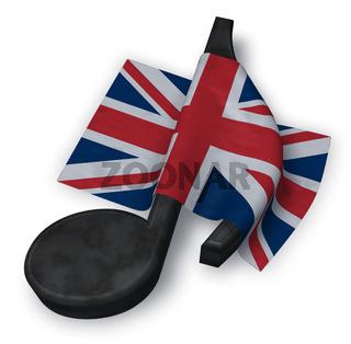 musiknote und flagge von Großbritannien - 3d illustration
