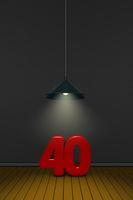 die zahl vierzig unter einer lampe - 3d rendering