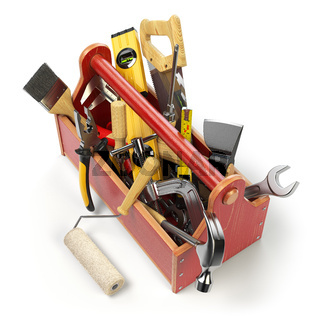 Wooden toolbox with tools isolated on white. Skrewdriver, hammer, handsaw, axe, pliers and wrench.