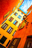 Yellow houses in old town of Stockholm
