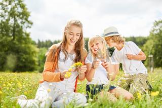 Mutter und Kinder pflücken gemeinsam Blumen