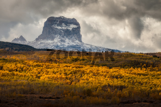Chief Mountain in Autumn in Glacier National Park, Montana, USA