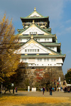 The landscape of Osaka castle in autumn