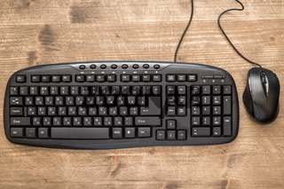 Black computer mouse and keyboard