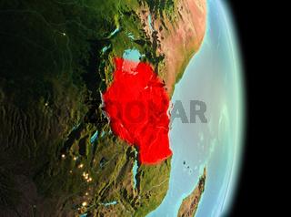 Tanzania in morning from orbit