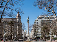 Cagancha square  in the historic district of Montevideo, Uruguay