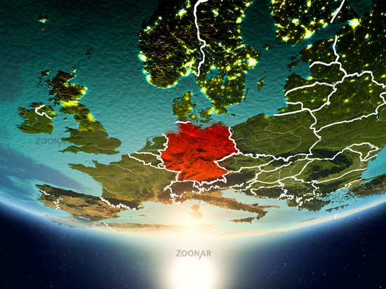 Germany with sun on planet Earth
