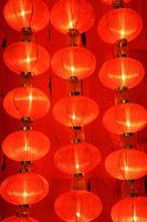 Many red сhinese lanterns