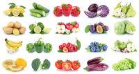 Obst und Gemüse Früchte Apfel Salat Zitrone Tomaten Farben Collage Freisteller freigestellt isoliert