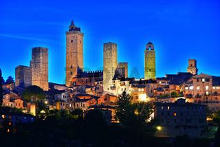 Panoramic view of San Gimignano in Tuscany