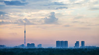 blue and pink daybreak over Moscow city