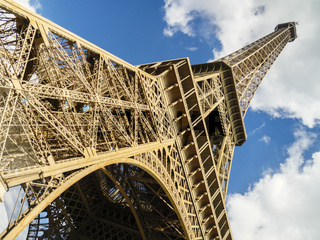 Gorgeous wide shot of Eiffel Tower in Paris, France