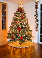 Decorated christmas tree in modern living room