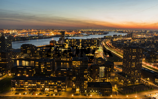 Maas Sunset Industrial Rotterdam Panorama