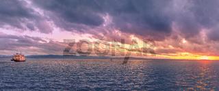 Bodensee lake panorama at sunset