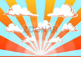 sunset sky and clouds illustration - cartoon style vector