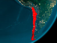 Chile from space at night