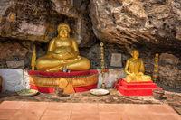 Buddhist statues near the stone temple