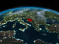 Bosnia and Herzegovina from space at night