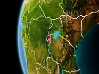 Rwanda from space in evening