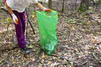Picking up trash in the forest