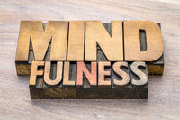 mindfulness word abstract in letterpress wood type