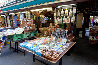 Souvenir shop at famous Havel Market in second week of Advent in Christmas