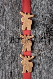 Moose Cookies on Red Ribbon
