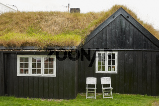 Typical houses with the grass roof in the Faroe Islands, Denmark