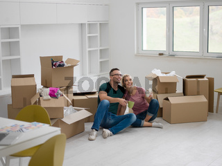 young couple in new house