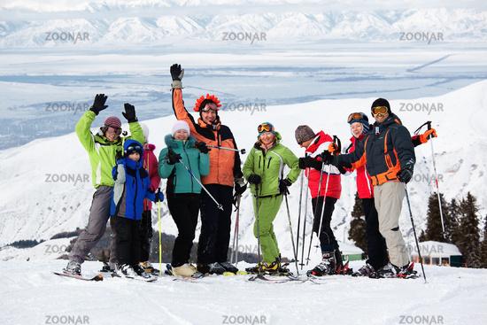 Friends at the ski resort