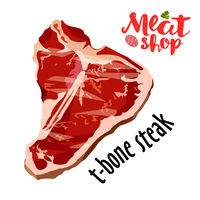 Raw fresh meat t-bone steak vector isolated on white. Fresh meat icon