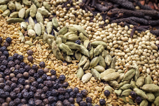 Traditional international grain and seed as spice as close-up