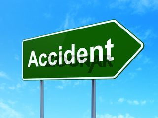 Insurance concept: Accident on road sign background