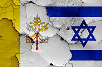 flag of Vatican and Israel painted on cracked wall